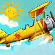 Cartoon biplane - Stock Photo