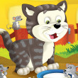 The farm cartoon cat - Stockfoto