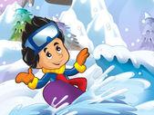 Cartoon kid doing freestyle slide — Stock Photo