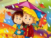 The rainy day in autumn — Foto Stock
