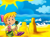 Cartoon play on the beach — Stock Photo