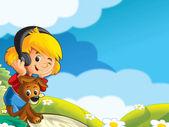 La chica con su amigo animal en la pradera — Foto de Stock