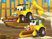 Father and son excavators — Fotografia Stock