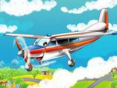 Little happy, cartoon plane — Stock Photo