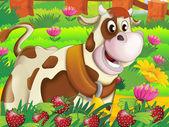 牛の実行上で楽しんで — ストック写真