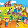 Stock Photo: Children on farm playing with farm animals 3
