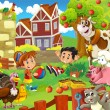 Stock Photo: Children on farm playing with farm animals 2