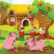Stock Photo: Pigs at farm playground