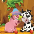 The cartoon pigs playing in the orchard and eating apples — Stock Photo