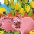 图库照片: Cartoon pigs playing hide and seek in field