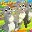 Stock Photo: Running rabbits
