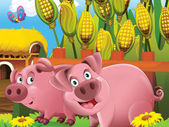 Cartoon pigs playing hide and seek in the field — Stock Photo