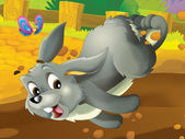 Running cartoon rabbit — Stock Photo