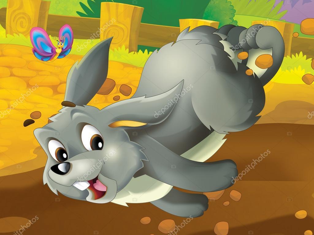 Conejo De Dibujos Animados Corriendo