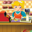 The shop illustration with different goods and a clerk — Stock Photo #12128704