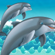 Stock Photo: Cartoon jumping dolphins