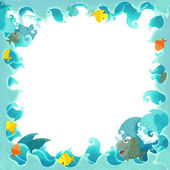 Artistic cartoon frame waves with fishes — Stock Photo
