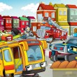 Foto Stock: Illustration with many vehicles