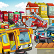 Foto Stock: The illustration with many vehicles