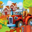 The farm illustration with tractor — Stock Photo