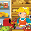 The shop illustration with different goods and a clerk — Stock Photo