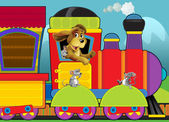 Cartoon locomotive for children with mice — Stock Photo