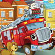 The red truck is happy spending his free time with his friends - animals — Stockfoto