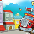 Stock Photo: The red firetruck is driving through the city - guarding the buildings - and his friends