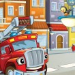 The red fire truck with the turned off sirens — Stock Photo