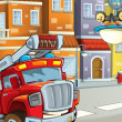 The red firetruck on the streets - looking at the audience audience — Stok fotoğraf