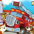 The red firetruck hero with his animal friends are happy — Stock Photo #12183476