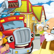 The red fire truck and his friends — Stock Photo
