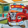 Stock Photo: Sick firetruck waiting to be repaired