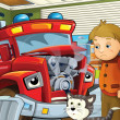 The red fire truck is sick and waiting with his friends for the car doctor for the car doctor — Stock Photo