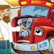 The red fire truck waiting to be repaired - car doctor is here - Stock Photo