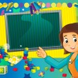 Постер, плакат: Having fun and learn time to school or kindergarten space for text