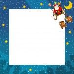 The christmas border - santa on the sledge flying - square frame - stylish - elegant - space for text — Stock Photo #12189864