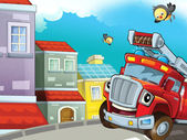 The red firetruck is driving through the city - guarding the buildings - and his friends — Stock Photo