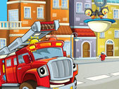 The red firetruck on the streets - looking at the audience audience — Stock Photo