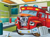 The sick firetruck waiting to be repaired — Stock Photo