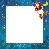 The christmas border - santa on the sledge flying - square frame - stylish - elegant - space for text — Stock Photo