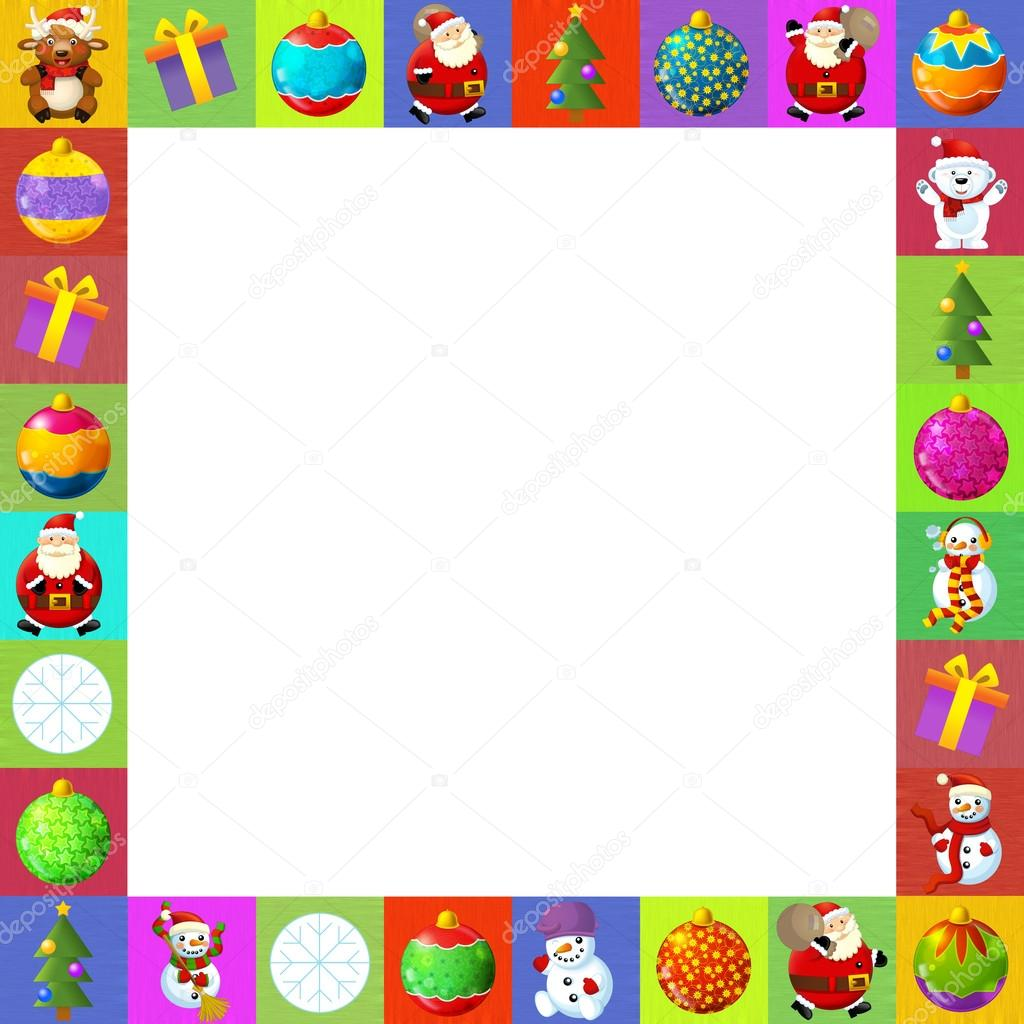 The christmas border - frame - patchwork - different elements - square frame - stylish - elegant - space for text - happy and cheerful illustration for the children  — Stock Photo #12189411
