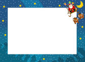 The christmas border - santa on the sledge - square frame - stylish - elegant - space for text — Stock Photo