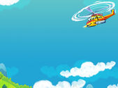 The happy cartoon helicopter — Stock Photo