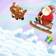 The santa claus sliding with the sack full of presents - Stock Photo