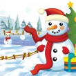 The happy snowman in the christmas mood - Stock Photo