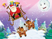 The santa claus flying with the sack full of presents — Stock Photo