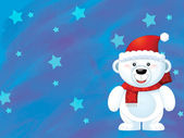 The christmas polar bear — Stock Photo