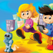 Stock Photo: Cartoon kids playing with robot