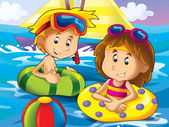Boy and girl swimming in the water — Stock Photo